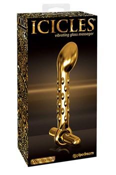 Анальный стимулятор Icicles Gold Edition G07 - Gold  с микровибратором - фото 10281