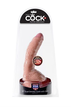 "Фаллоимитатор King Cock + Dual Density 10"" Cock - Flesh телесный - фото 10309"