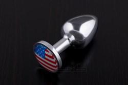 Маленькая анальная пробка с флагом США - фото 11137