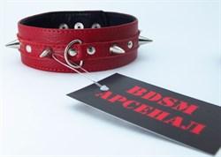 Ошейник с  шипами  красный 55011ars - фото 11596