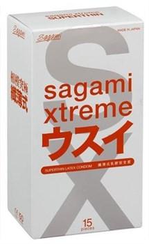 **SAGAMI Xtreme 15шт. Презервативы ультратонкие, латекс 0,04 мм - фото 12338
