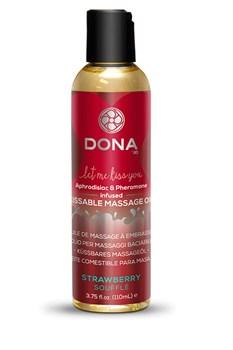 Вкусовое массажное масло  DONA Kissable Massage Oil Strawberry Souffle 125 мл - фото 6966