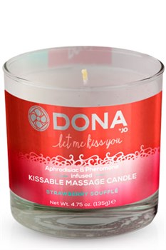 Вкусовая массажная свеча DONA Kissable Massage Candle Strawberry Souffle 135 г - фото 6983