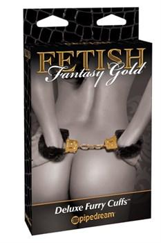 Наручники Deluxe Furry Cuffs с мехом черные с золотом - фото 9476
