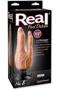"""Вибратор Real Feel Deluxe N8 7,5"""" Double Penetrator для двойного проникновения на присоске телесный"""
